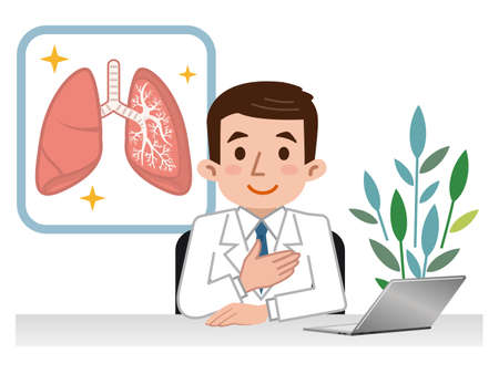 Doctor explaining the lungs Stock Illustratie