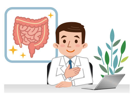 Doctor explaining the large intestine and small intestine Ilustração