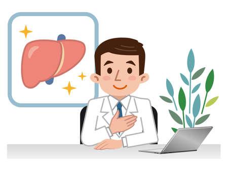 Doctor explaining the liver