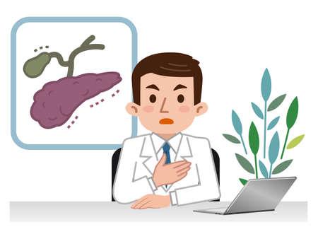 Doctor explaining the pancreas and gall bladder Ilustração