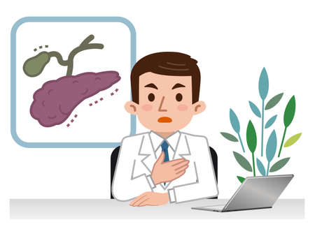 Doctor explaining the pancreas and gall bladder Illustration