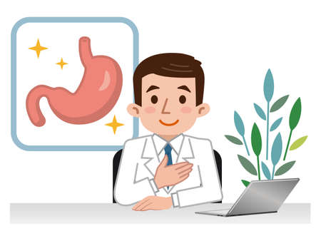 Doctor explaining the stomach