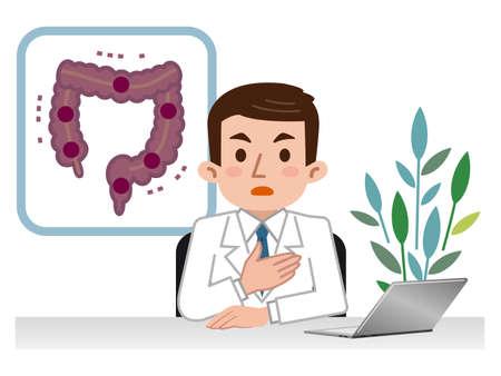 cecum: Doctor explaining the large intestine