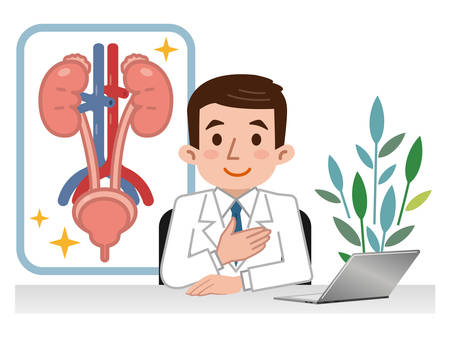 Médico explicando urología Vectores