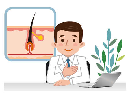 papilla: Doctor explaining the hair root