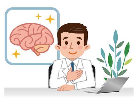 Doctor explaining the brain Ilustração Vetorial