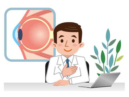 retina: Doctor explaining the eyeball