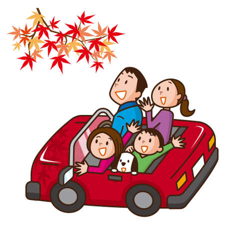 Drive with family Illustration