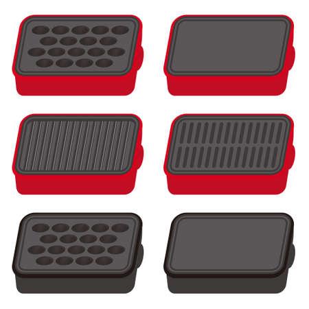 Set of hot plate and Takoyaki equipment  イラスト・ベクター素材