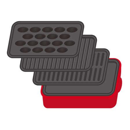 Set of hot plate and Takoyaki equipment Illustration