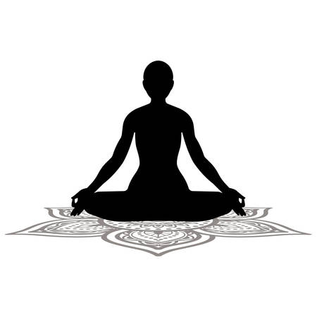 sereniteit en yoga oefenen, meditatie Stock Illustratie