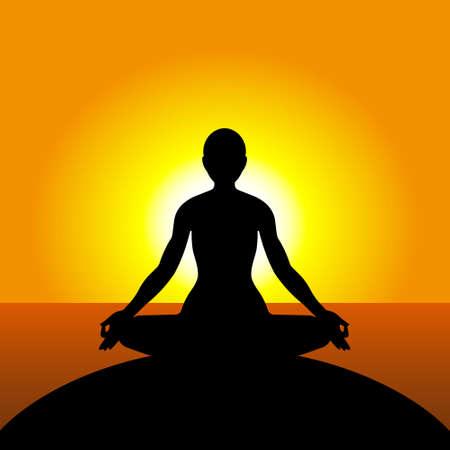静けさと練習、瞑想ヨガ  イラスト・ベクター素材