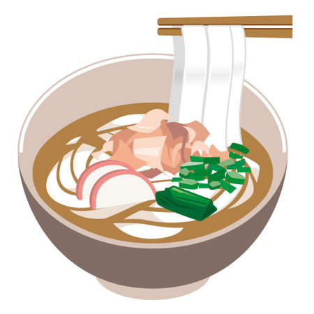Illustration of Udon noodle.