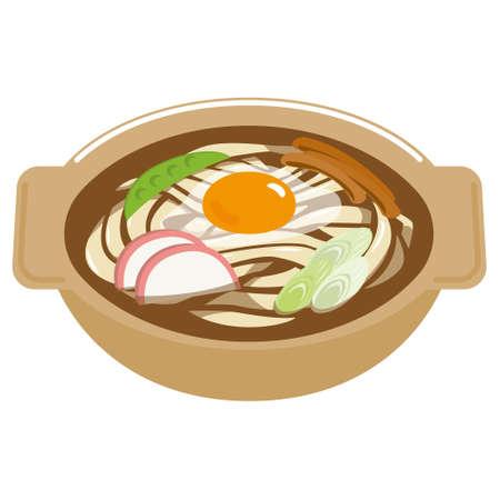 Stewed Miso Udon Noodles. Illusztráció