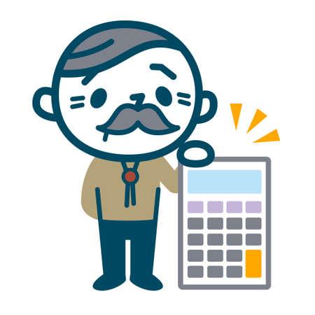 Senior male with calculator