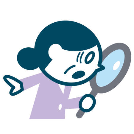 Senior woman looking into the magnifying glass.