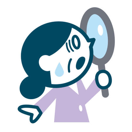 Senior woman looking into the magnifying glass