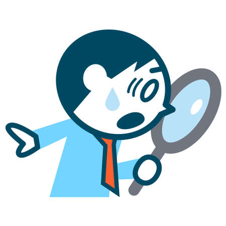 Young businessman looking into the magnifying glass.