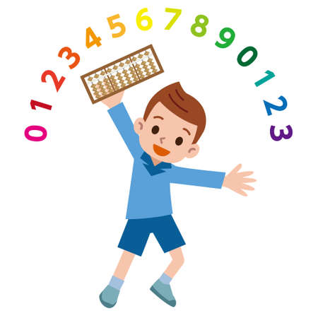 Abacus and boys illustration
