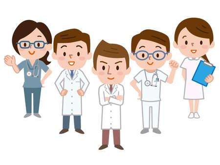 Illustration of medical team Vettoriali