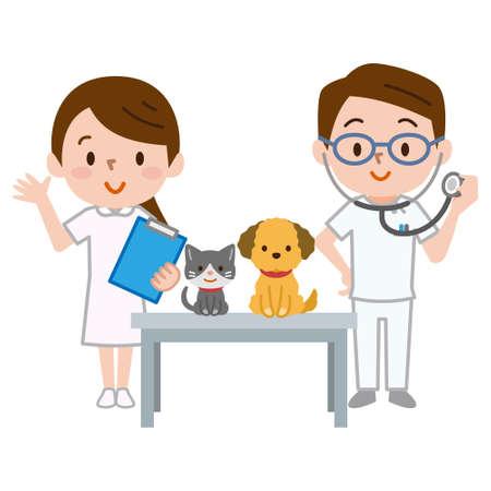 Veterinario y enfermera que consultan mascota