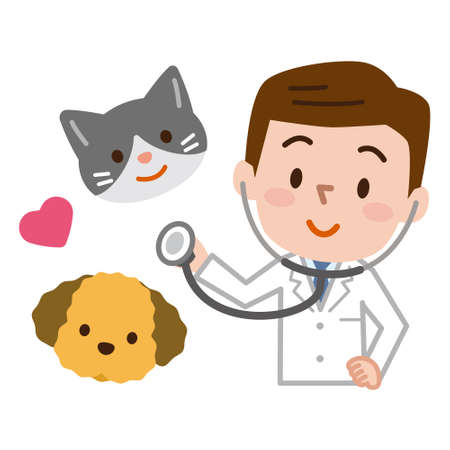 Young veterinarian and pet