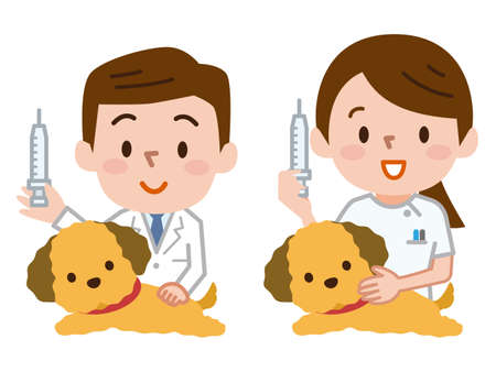 Veterinarians with syringe Vectores