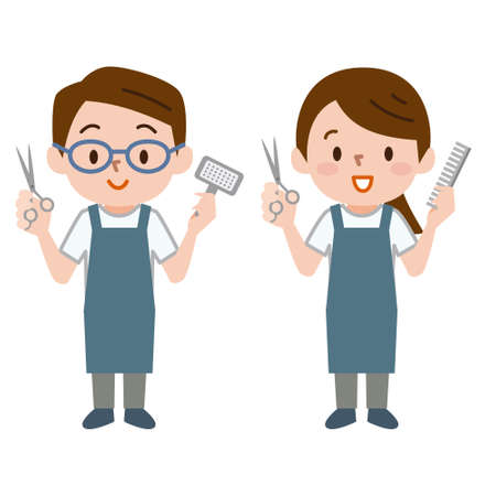 Male groomer and female groomer  イラスト・ベクター素材