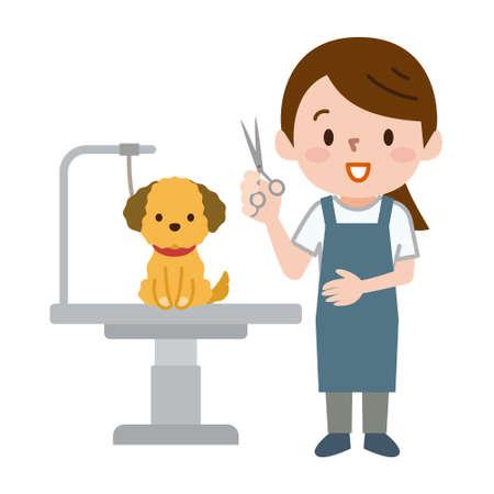 Mujeres peluqueras y perros
