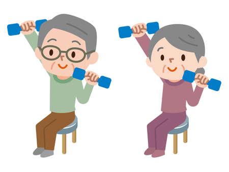 Anziano per fare esercizi con manubri
