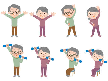 Set of old couples doing dumbbell exercises 向量圖像