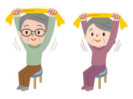 Senior die zich uitstrekt met een handdoek
