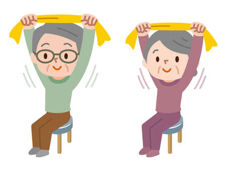 Senior Stretching mit Handtuch Standard-Bild - 99163816