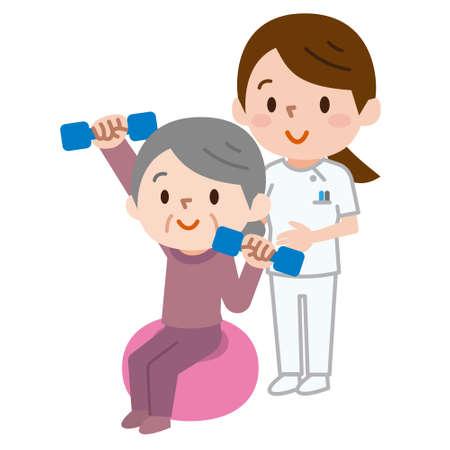 Senior citizens lifting dumbbells while sitting on exercise ball