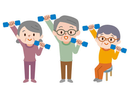 Senior citizens lifting dumbbells