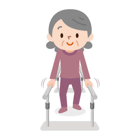 Senior woman learning to walk in physiotheraphy