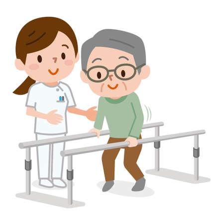 Hombre Senior aprendiendo a caminar en fisioterapia Ilustración de vector