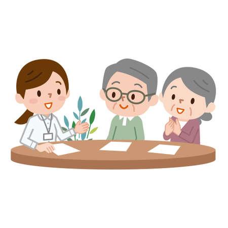 Vrij vrouwelijke manager verzekeringsvoorwaarden uit te leggen aan senior echtpaar Vector Illustratie
