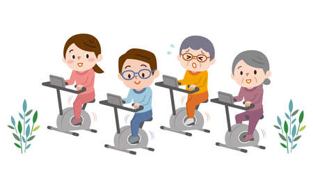 Group of positive people training on exercise bikes in gym