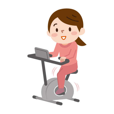 Young woman doing bike exercises  イラスト・ベクター素材