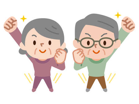 Energetic senior couple
