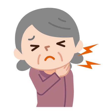 Senior women who have neck pain 写真素材 - 112364960