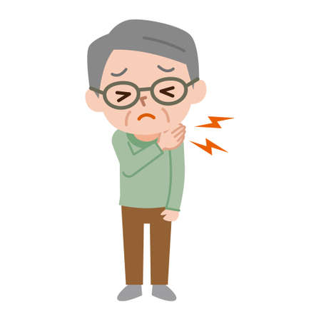 Senior men who have shoulder pain Illustration