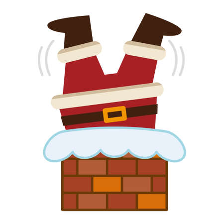 Santa Claus caught upside down in a chimney
