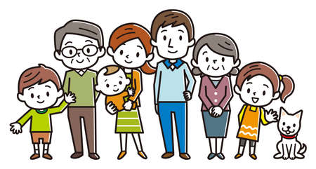 Big happy family. Vector illustration. Çizim