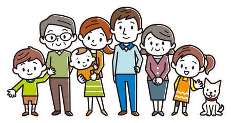Duża szczęśliwa rodzina. Ilustracji wektorowych. Ilustracje wektorowe