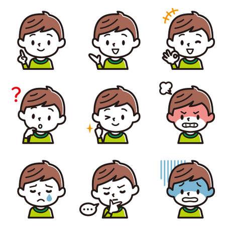 Ensemble d'illustration faciale du garçon. Vecteurs