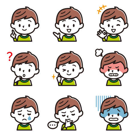 Set of boy's facial illustration. Ilustração Vetorial
