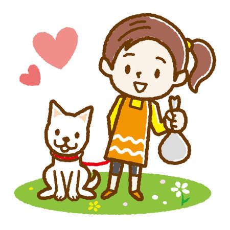 Girl Cleaning Dog Poop