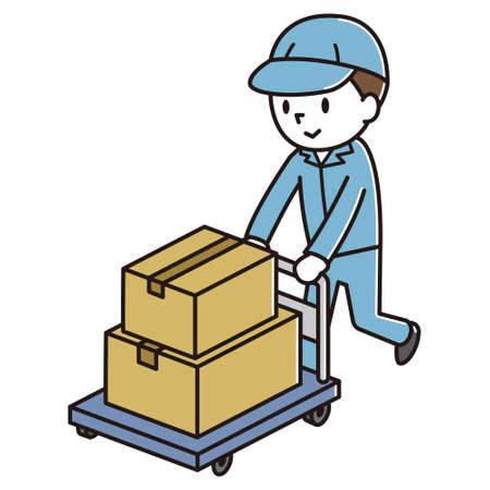Hombres que llevan equipaje en un transportador